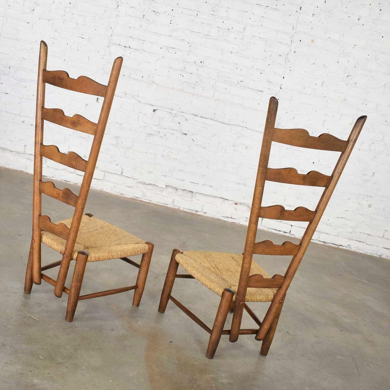 Pair of Vintage Fireside Ladderback Chairs by Gio Ponti for Casa e Giardino For Sale 5