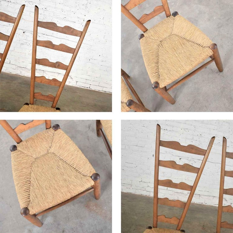 Pair of Vintage Fireside Ladderback Chairs by Gio Ponti for Casa e Giardino For Sale 8