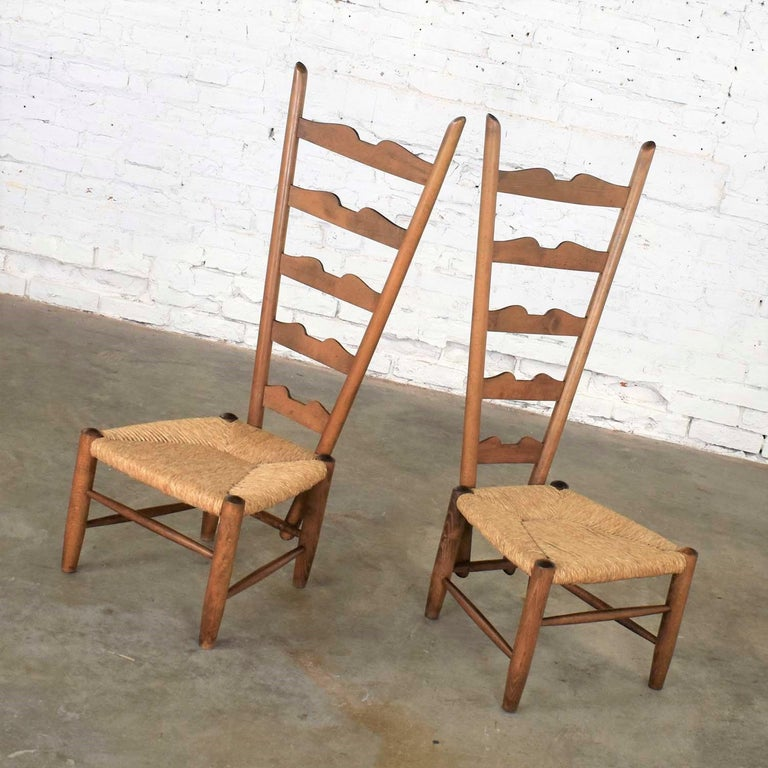 Mid-Century Modern Pair of Vintage Fireside Ladderback Chairs by Gio Ponti for Casa e Giardino For Sale