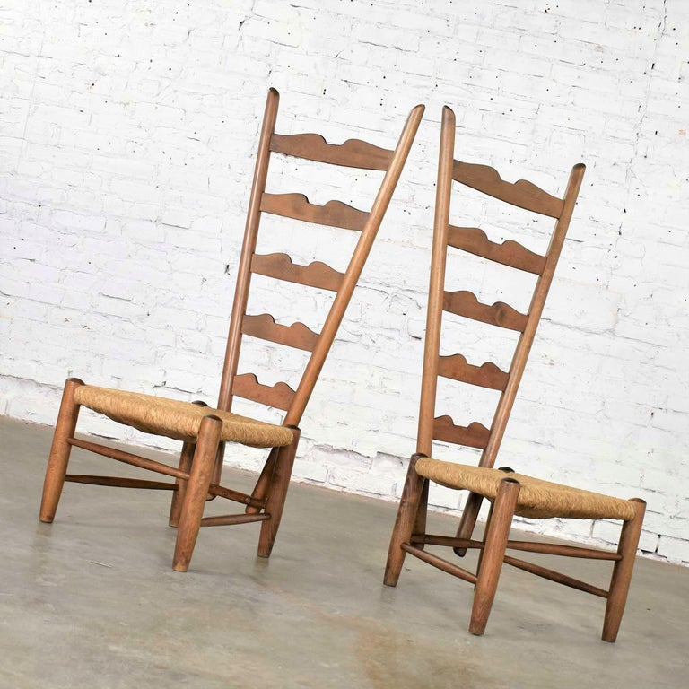 Italian Pair of Vintage Fireside Ladderback Chairs by Gio Ponti for Casa e Giardino For Sale