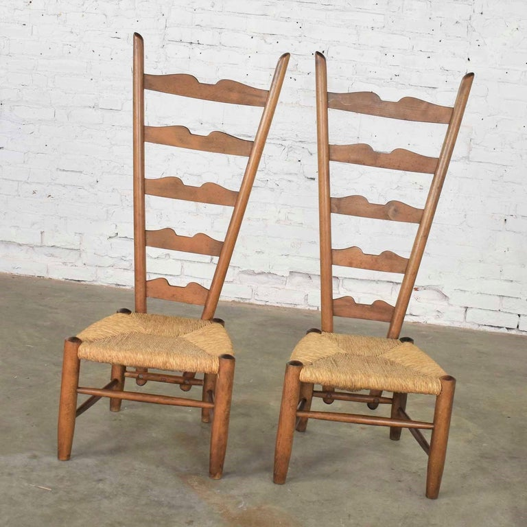 Pair of Vintage Fireside Ladderback Chairs by Gio Ponti for Casa e Giardino In Good Condition For Sale In Topeka, KS