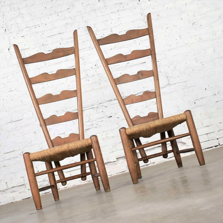 20th Century Pair of Vintage Fireside Ladderback Chairs by Gio Ponti for Casa e Giardino For Sale