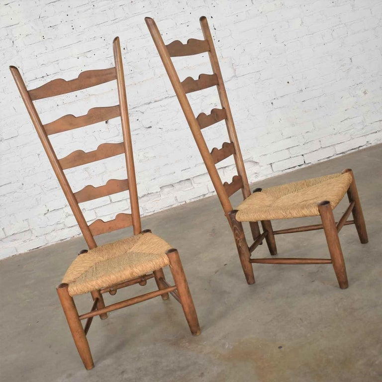 Rush Pair of Vintage Fireside Ladderback Chairs by Gio Ponti for Casa e Giardino For Sale