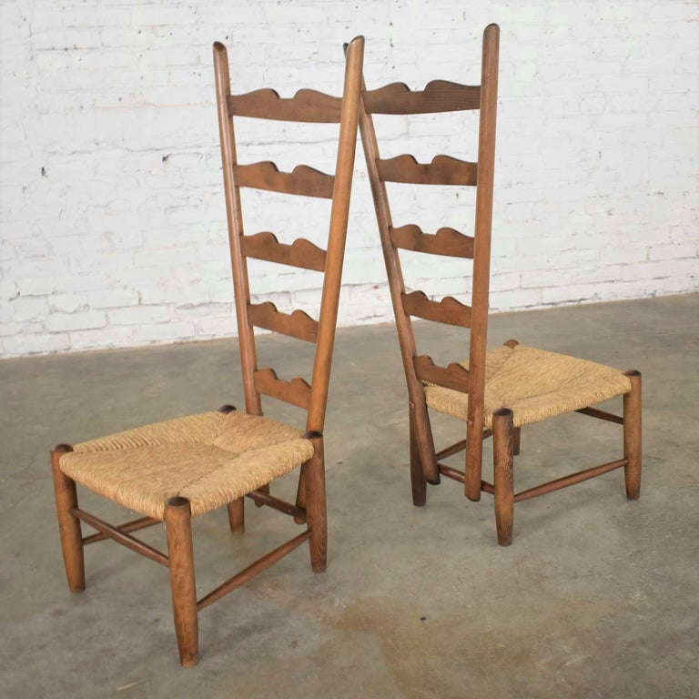 Pair of Vintage Fireside Ladderback Chairs by Gio Ponti for Casa e Giardino For Sale 2