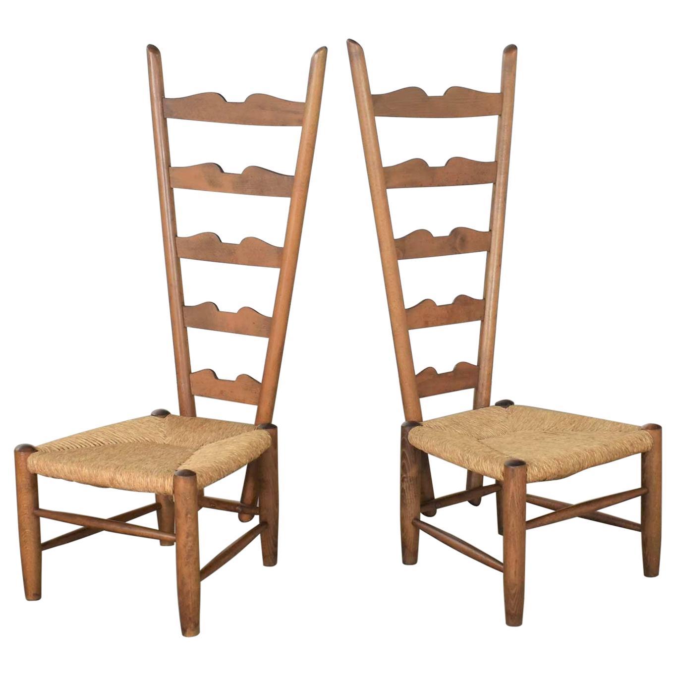 Pair of Vintage Fireside Ladderback Chairs by Gio Ponti for Casa e Giardino