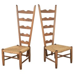 Pair of Vintage Fireside Ladderback Chairs by Gio Ponti for Casa e Giardino