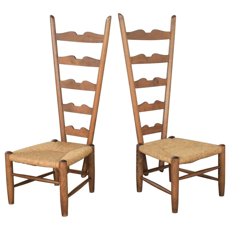 Pair of Vintage Fireside Ladderback Chairs by Gio Ponti for Casa e Giardino For Sale