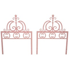 Pair of Italian Gothic Iron Hollywood Regency Twin or King Size Bed Headboard