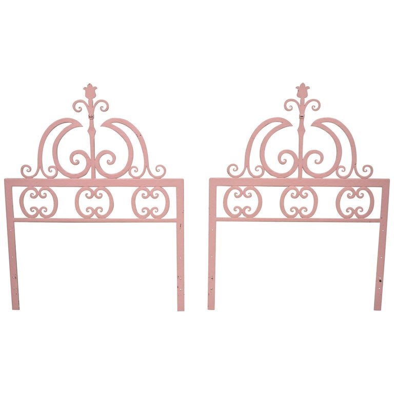 Pair of Italian Gothic Iron Hollywood Regency Twin or King Size Bed Headboard For Sale