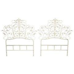 Pair of Vintage Italian Rococo Hollywood Regency Ornate Iron Twin Bed Headboard