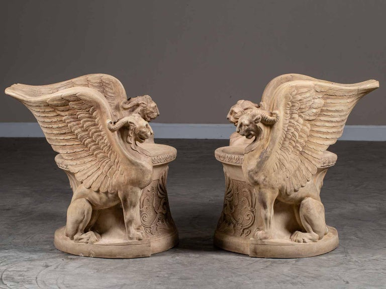 This pair of vintage Italian terra cotta chairs circa 1930 are by the fabled Florentine company Manifattura di Signa originally located outside of Florence. During its life (founded in 1895) the workshop developed a reputation for the faithful