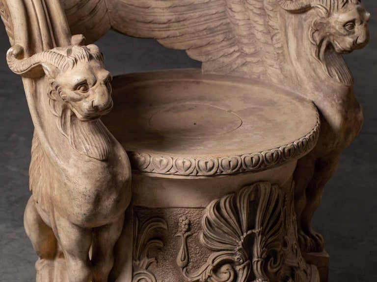 Carved Pair Vintage Italian Terra Cotta Chairs circa 1930 by Manifattura di Signa For Sale