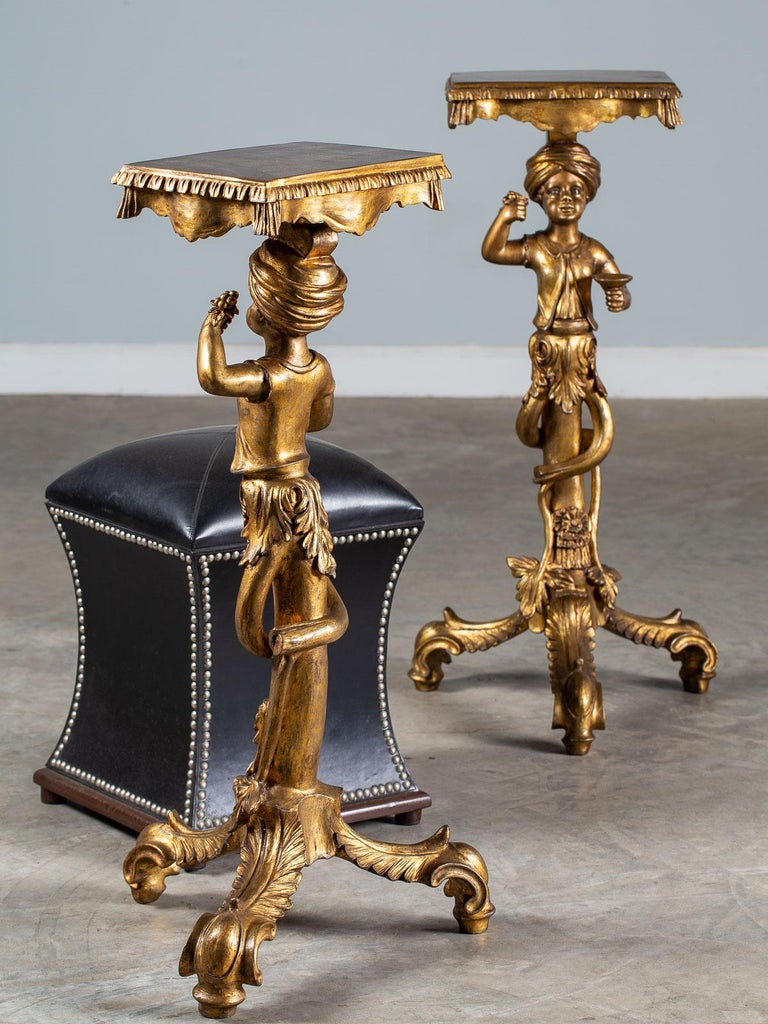 Pair Vintage Italian Venetian Gilt Blackamoor Figures Pedestal Column circa 1950 For Sale 11