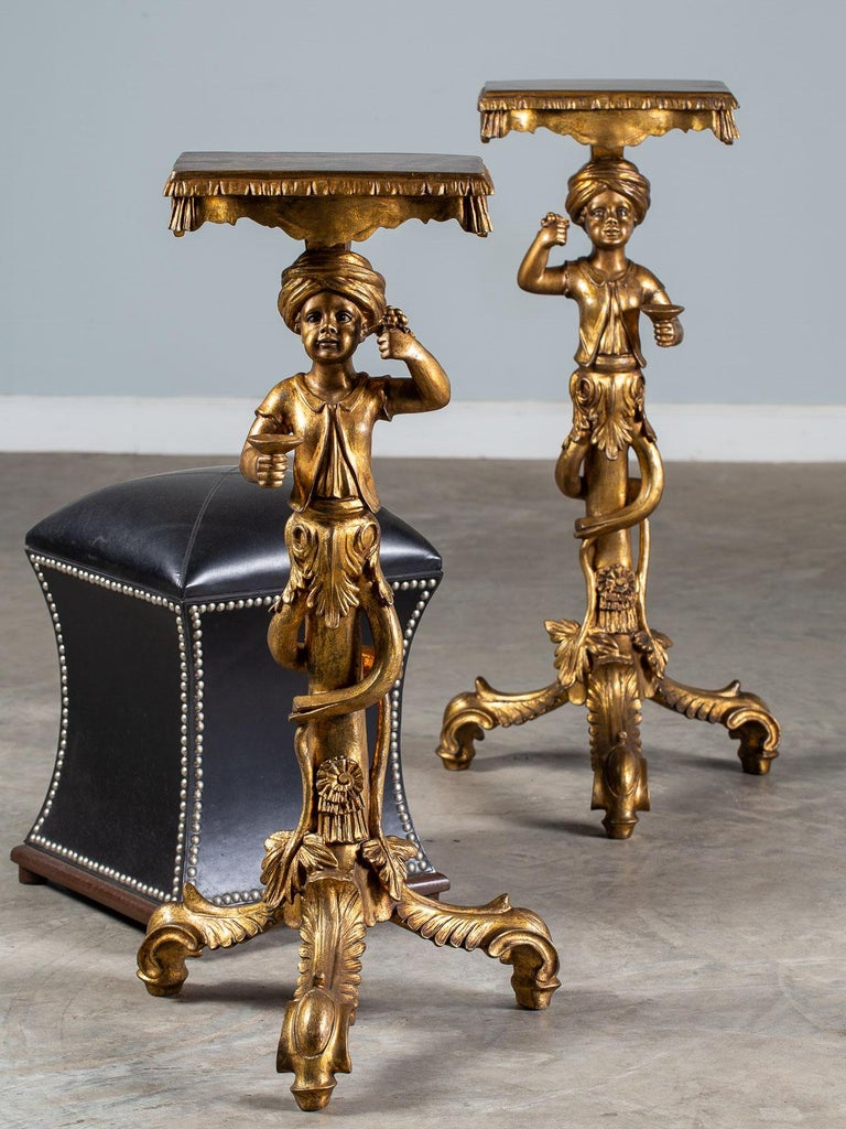 Pair Vintage Italian Venetian Gilt Blackamoor Figures Pedestal Column circa 1950 For Sale 12