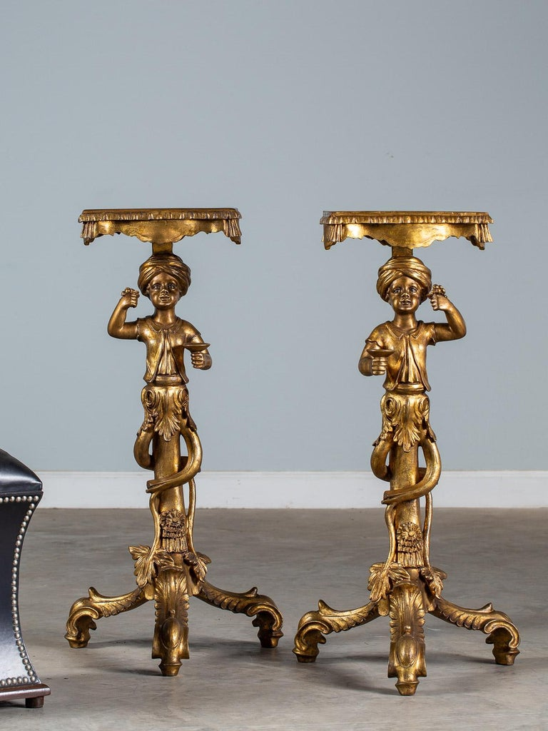 Baroque Pair Vintage Italian Venetian Gilt Blackamoor Figures Pedestal Column circa 1950 For Sale