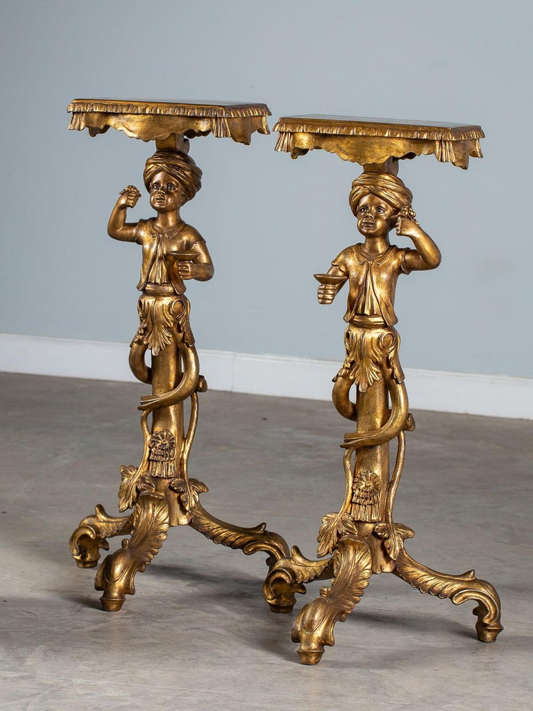 Cast Pair Vintage Italian Venetian Gilt Blackamoor Figures Pedestal Column circa 1950 For Sale