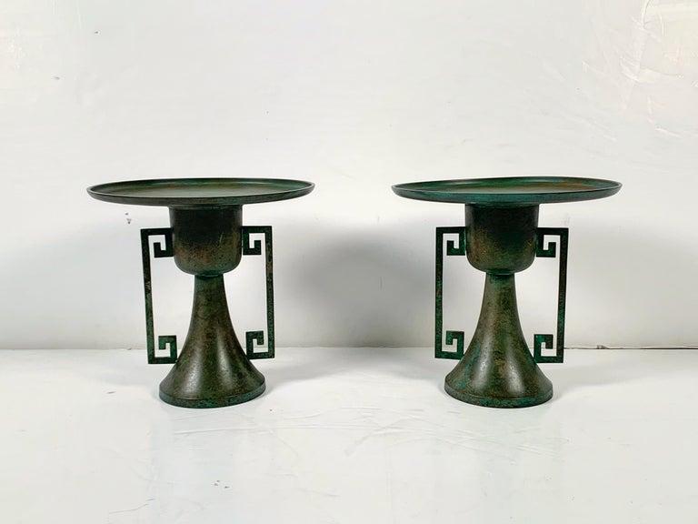 Patinated Pair of Vintage Japanese Bronze Usubata, Showa, Mid-20th Century, Japan For Sale