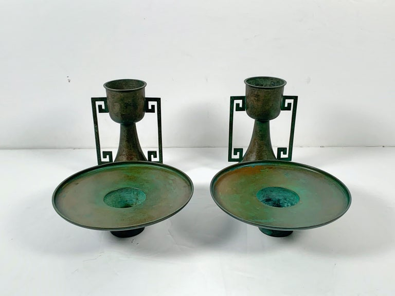 Pair of Vintage Japanese Bronze Usubata, Showa, Mid-20th Century, Japan In Good Condition For Sale In Austin, TX
