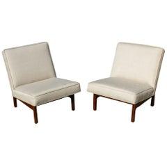 Pair of Vintage Jens Risom Walnut Lounge Slipper Chairs
