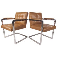 Pair Vintage Leather and Chrome Chairs