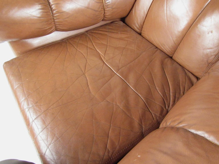Pair Vintage Leather Club Chairs after Gigi Radice For Sale 5