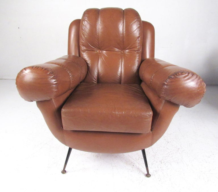Italian Pair Vintage Leather Club Chairs after Gigi Radice For Sale