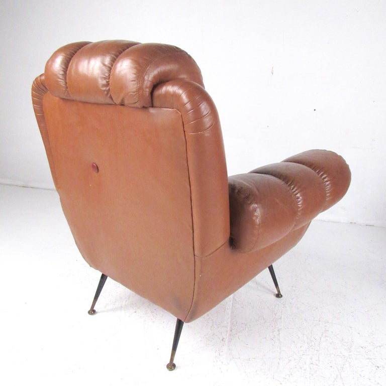 Mid-20th Century Pair Vintage Leather Club Chairs after Gigi Radice For Sale