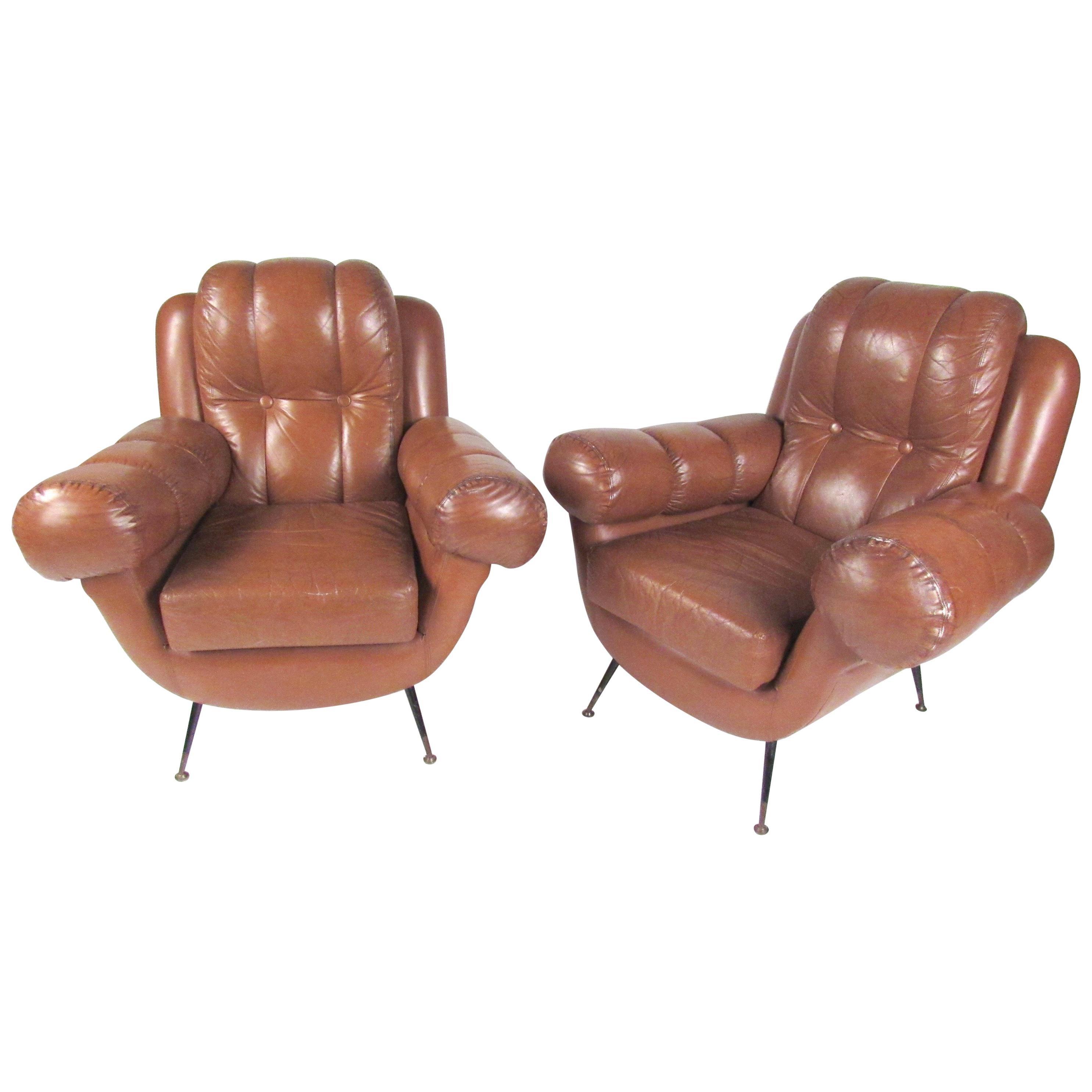Pair Vintage Leather Club Chairs after Gigi Radice