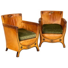 Pair of Vintage Leather Club Chairs by Otto Schulz