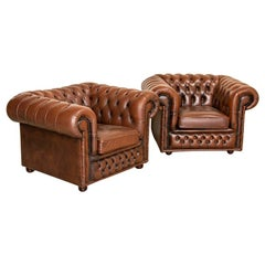 Pair, Vintage Leather Club Chairs from England