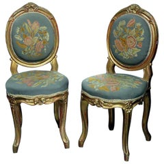 Pair of Vintage Gilded Louis XV Style Needlepoint Side Chairs