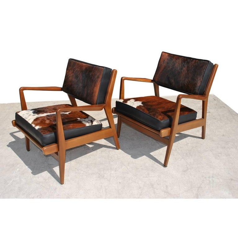 Danish Pair of Vintage Midcentury Restored Jens Risom Lounge Chairs For Sale