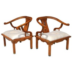 Pair of Vintage Ming Style Century Chin Hua Horseshoe Lounge Chairs