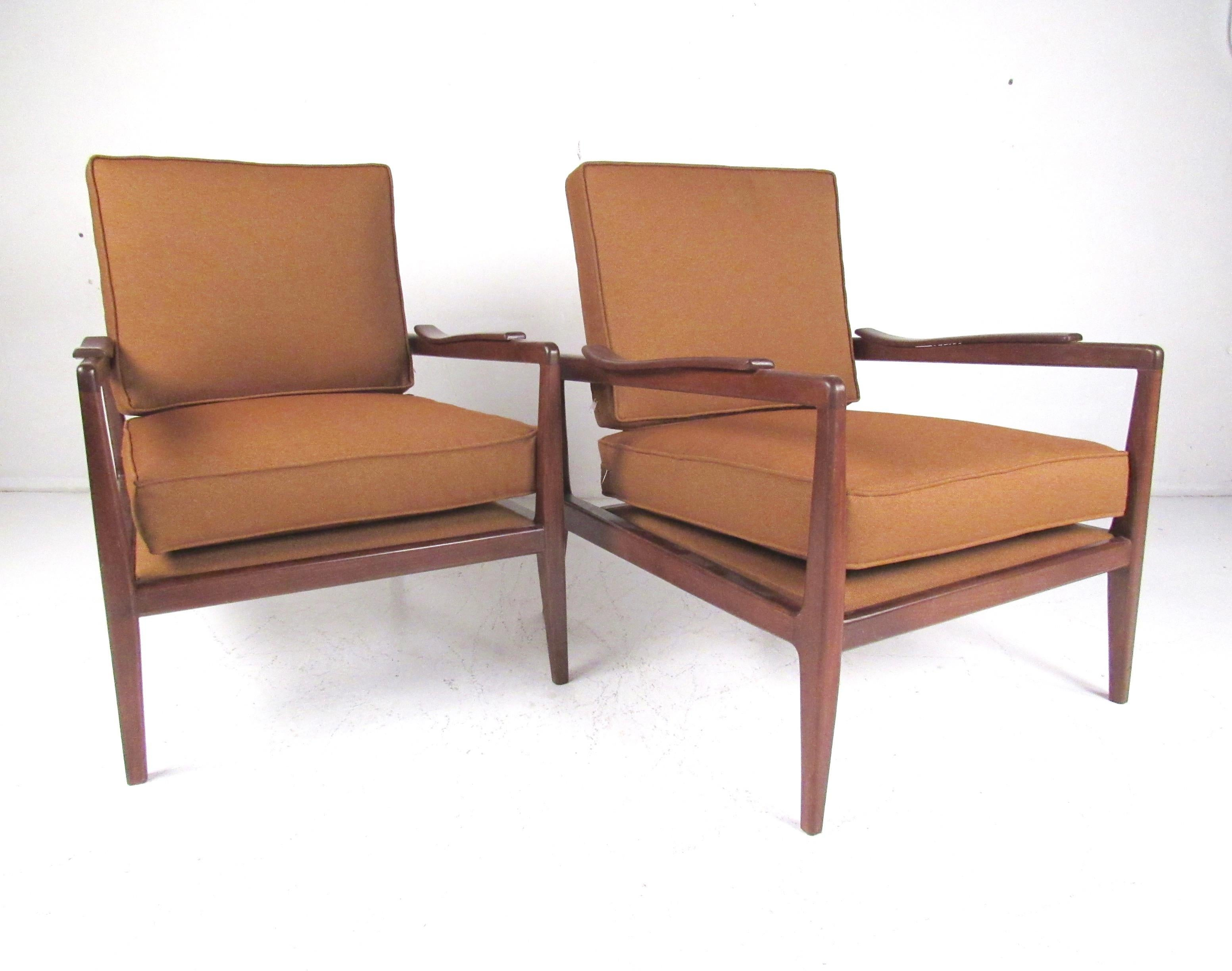 Pair vintage modern walnut lounge chairs for sale at 1stdibs