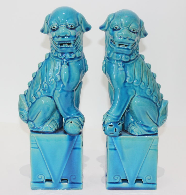 Pair of Vintage Peking Blue Glazed Foo Dogs For Sale 4