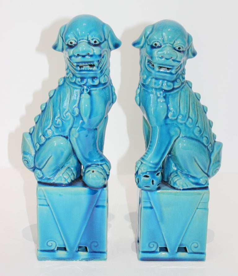 Peking blue glazed ceramic foo dogs 13