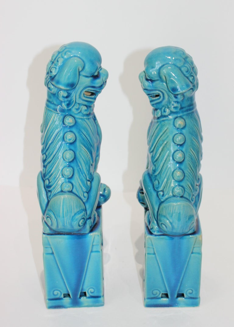 20th Century Pair of Vintage Peking Blue Glazed Foo Dogs For Sale