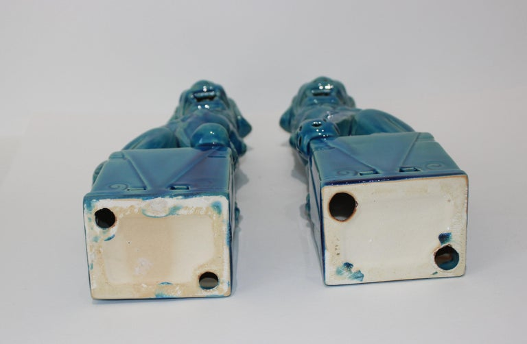 Ceramic Pair of Vintage Peking Blue Glazed Foo Dogs For Sale