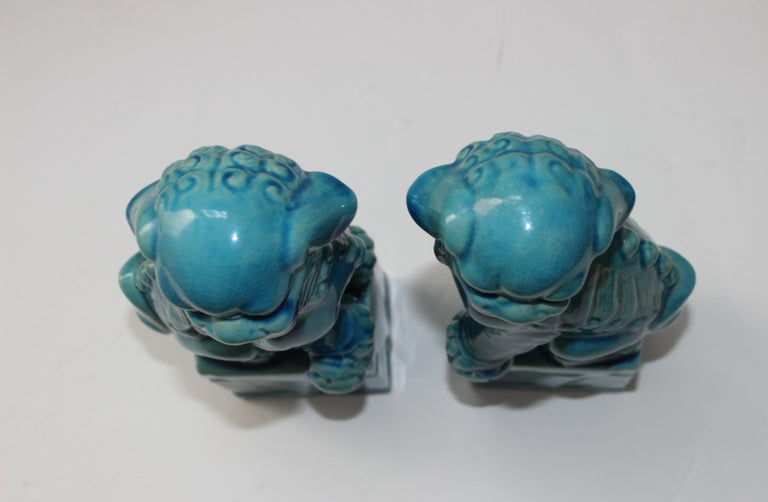 Pair of Vintage Peking Blue Glazed Foo Dogs For Sale 3