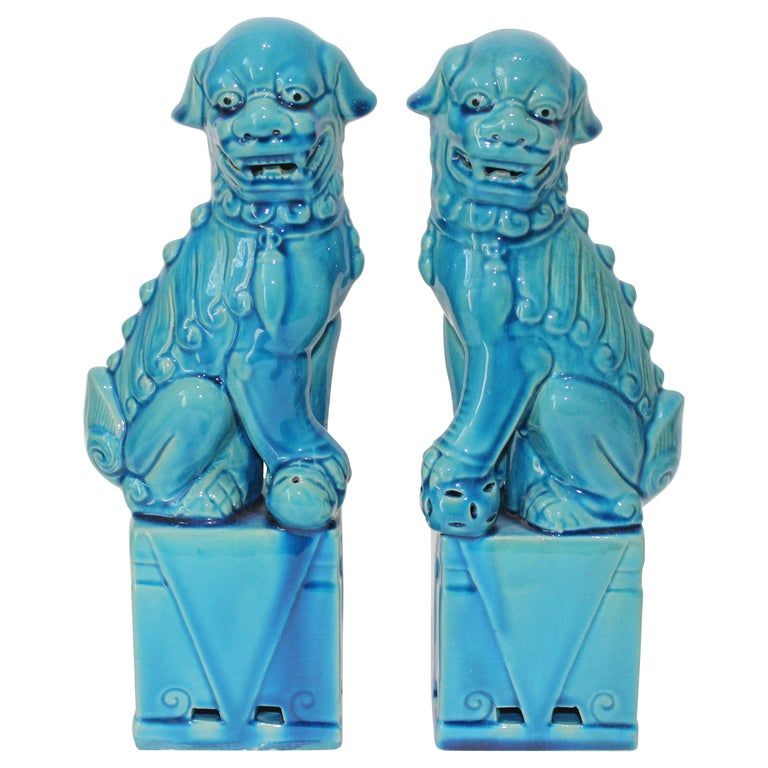 Pair of Vintage Peking Blue Glazed Foo Dogs For Sale