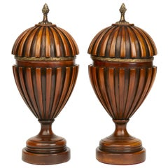 Pair of Adam Style Carved Wood Lidded Urns, circa 1950