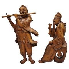Pair Vintage Ricardo Lynn Carved Teak Wood Oriental Figures Flute Player Wiseman
