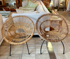 Pair Vintage Round Bamboo Chairs