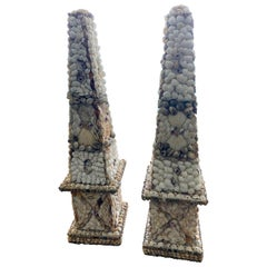 Pair of Vintage Shell Obelisks