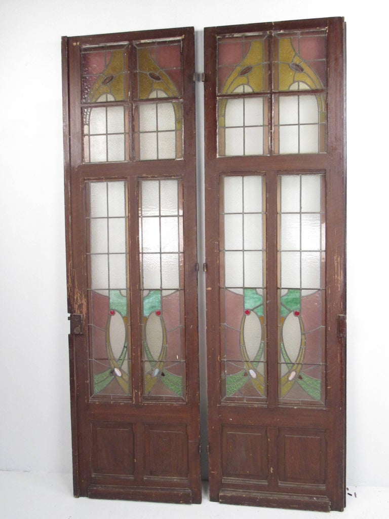 Pair Of Vintage Stained Glass Doors For Sale At 1stdibs