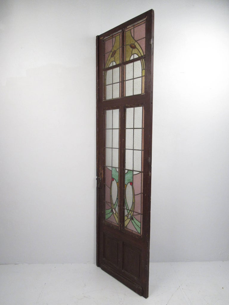 20th Century Pair of Vintage Stained Glass Doors For Sale