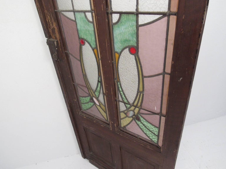 Pair of Vintage Stained Glass Doors For Sale 2