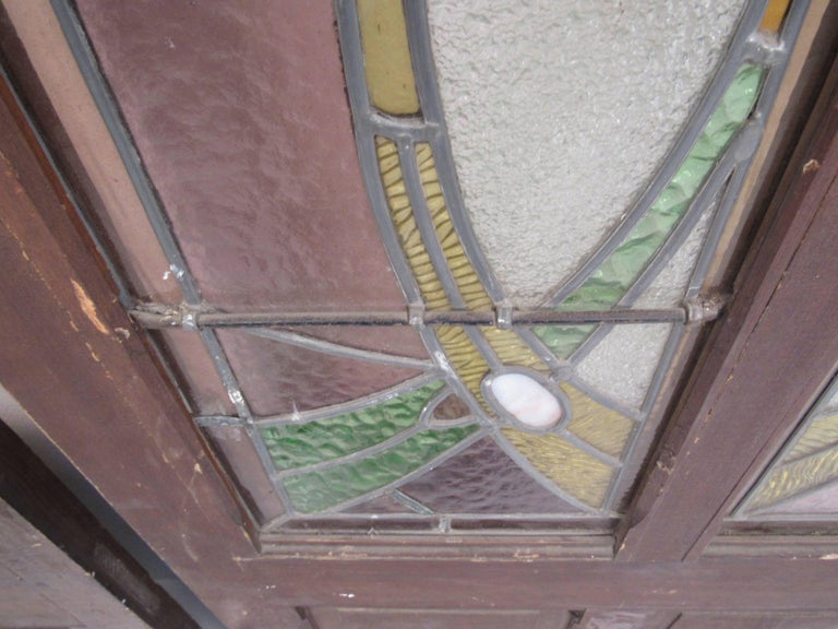 Pair of Vintage Stained Glass Doors For Sale 4