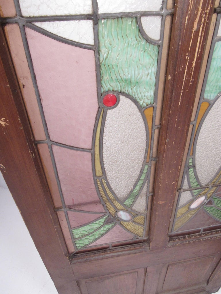 Pair of Vintage Stained Glass Doors For Sale 5