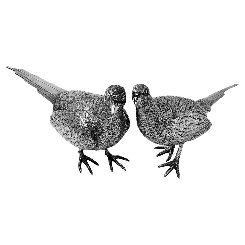 Pair Vintage Sterling Silver Model Pheasants Bird Statues Figures 1967 Comyns